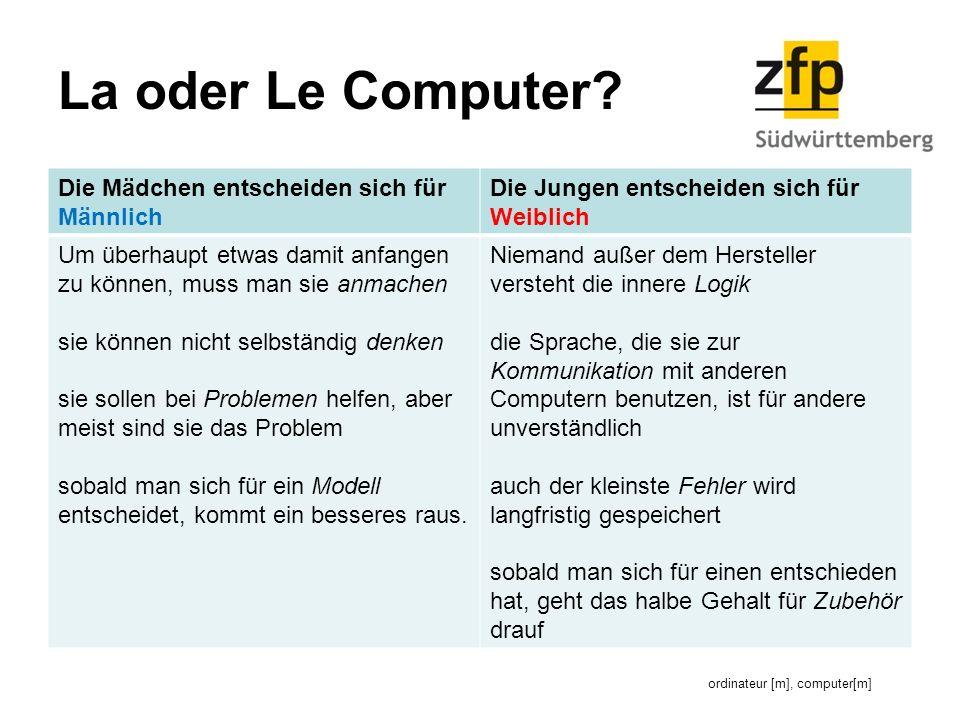 La oder Le Computer.