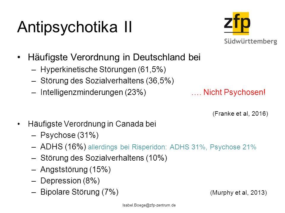 Antipsychotika II Häufigste Verordnung in Deutschland bei –Hyperkinetische Störungen (61,5%) –Störung des Sozialverhaltens (36,5%) –Intelligenzminderungen (23%) ….
