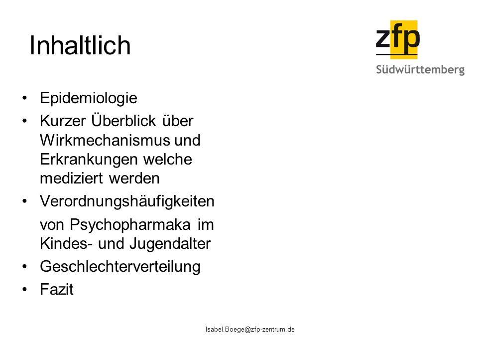 Isabel.Boege@zfp-zentrum.de Inhaltlich Epidemiologie Kurzer Überblick über Wirkmechanismus und Erkrankungen welche mediziert werden Verordnungshäufigkeiten von Psychopharmaka im Kindes- und Jugendalter Geschlechterverteilung Fazit