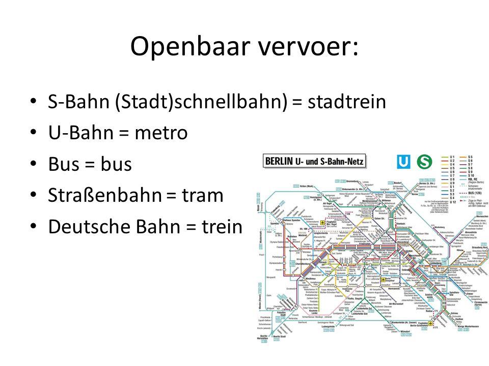 Openbaar vervoer: S-Bahn (Stadt)schnellbahn) = stadtrein U-Bahn = metro Bus = bus Straßenbahn = tram Deutsche Bahn = trein