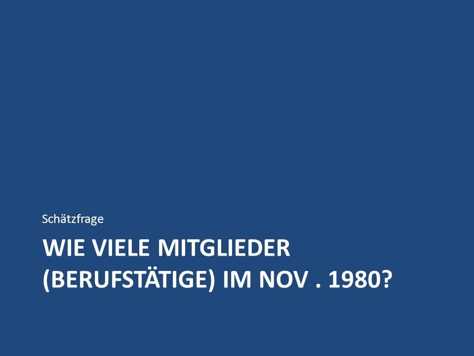 WIE VIELE MITGLIEDER (BERUFSTÄTIGE) IM NOV. 1980 Schätzfrage