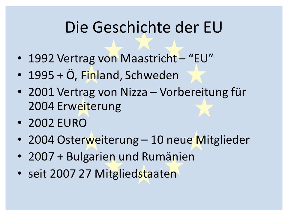 """Die Geschichte der EU 1992 Vertrag von Maastricht – """"EU"""" 1995 + Ö, Finland, Schweden 2001 Vertrag von Nizza – Vorbereitung für 2004 Erweiterung 2002 E"""