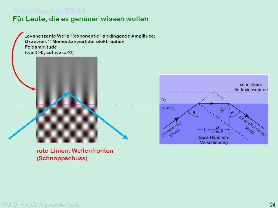Goos-Hänchen Effekt Goos-Hänchen Effekt Für Leute, die es genauer wissen wollen Prof. Dr. H. Graßl, Angewandte Physik 24 rote Linien: Wellenfronten (S