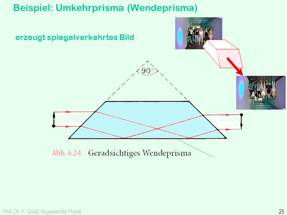 Prof. Dr. H. Graßl, Angewandte Physik 25 Beispiel: Umkehrprisma (Wendeprisma) erzeugt spiegelverkehrtes Bild