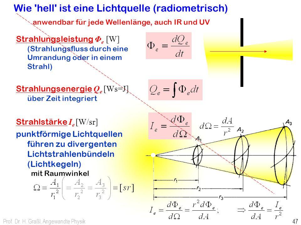 Prof. Dr. H. Graßl, Angewandte Physik 47 Wie 'hell' ist eine Lichtquelle (radiometrisch) Strahlungsleistung Φ e [W] (Strahlungsfluss durch eine Umrand