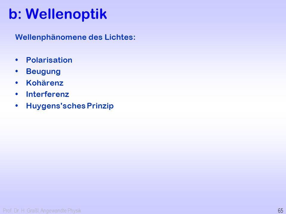 Prof. Dr. H. Graßl, Angewandte Physik 65 b: Wellenoptik Wellenphänomene des Lichtes: Polarisation Beugung Kohärenz Interferenz Huygens'sches Prinzip