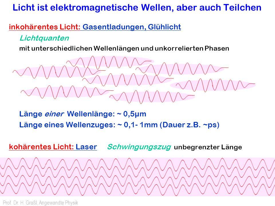 Licht ist elektromagnetische Wellen, aber auch Teilchen inkohärentes Licht: Gasentladungen, Glühlicht Lichtquanten mit unterschiedlichen Wellenlängen