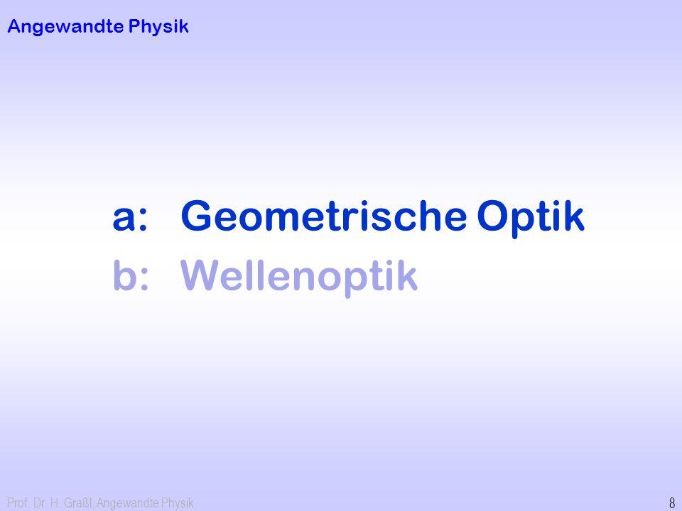 Prof. Dr. H. Graßl, Angewandte Physik 8 Angewandte Physik a:Geometrische Optik b:Wellenoptik