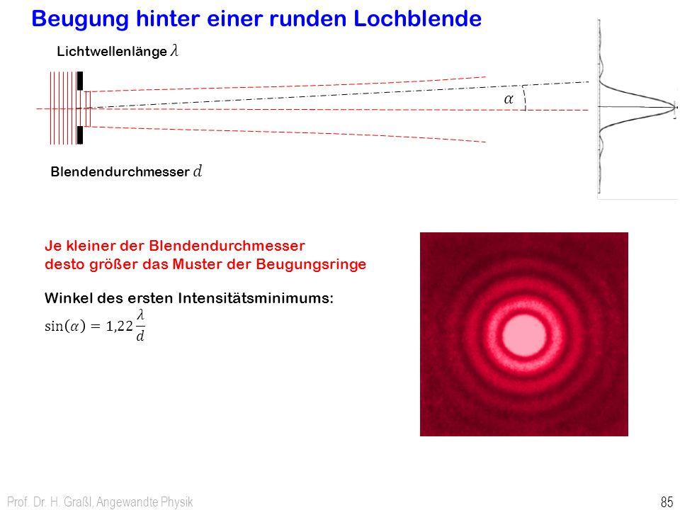 Beugung hinter einer runden Lochblende Prof. Dr. H. Graßl, Angewandte Physik 85 Je kleiner der Blendendurchmesser desto größer das Muster der Beugungs