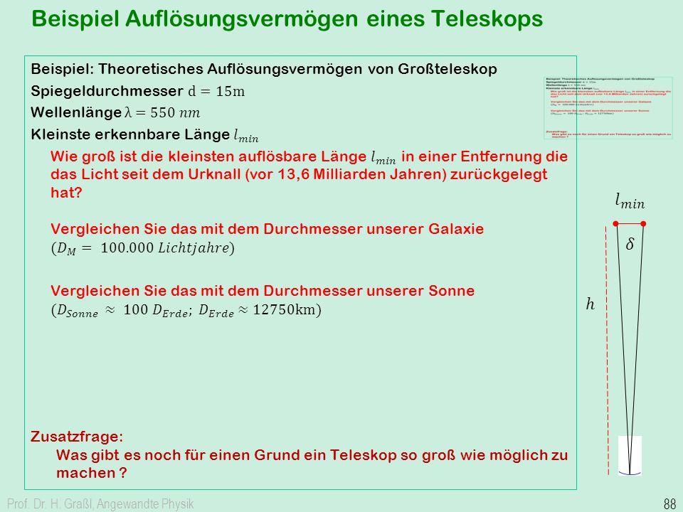 Beispiel Auflösungsvermögen eines Teleskops Prof. Dr. H. Graßl, Angewandte Physik 88