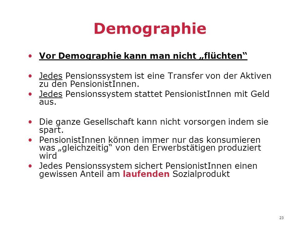 """23 Demographie Vor Demographie kann man nicht """"flüchten Jedes Pensionssystem ist eine Transfer von der Aktiven zu den PensionistInnen."""