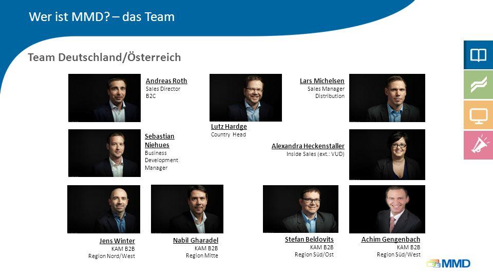 Wer ist MMD? – das Team Team Deutschland/Österreich Andreas Roth Sales Director B2C Lars Michelsen Sales Manager Distribution Sebastian Niehues Busine