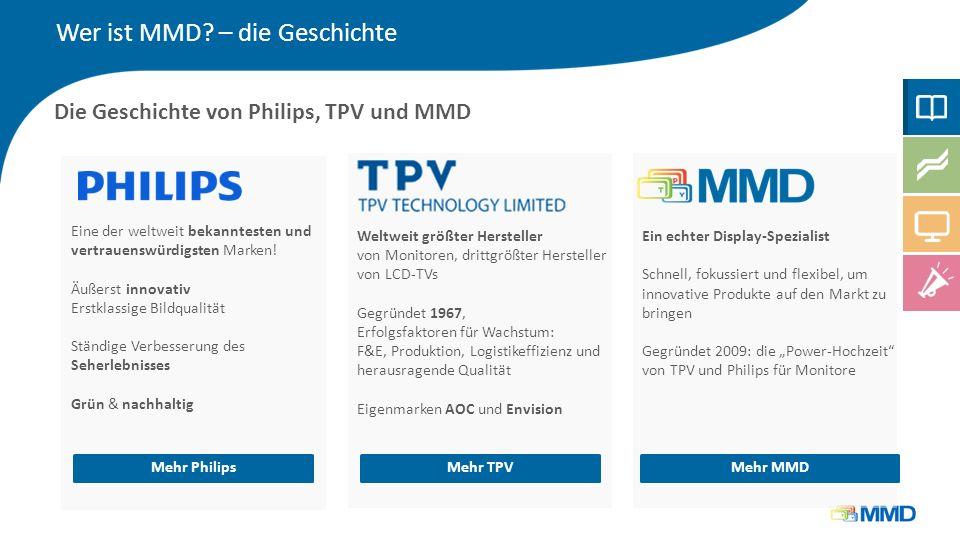Wer ist MMD? – die Geschichte Die Geschichte von Philips, TPV und MMD Eine der weltweit bekanntesten und vertrauenswürdigsten Marken! Äußerst innovati