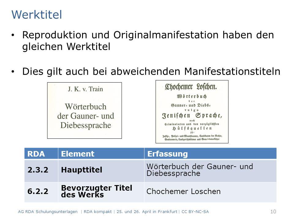 Werktitel Reproduktion und Originalmanifestation haben den gleichen Werktitel Dies gilt auch bei abweichenden Manifestationstiteln AG RDA Schulungsunterlagen | RDA kompakt | 25.