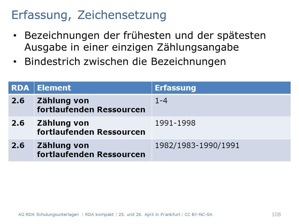 Erfassung, Zeichensetzung Bezeichnungen der frühesten und der spätesten Ausgabe in einer einzigen Zählungsangabe Bindestrich zwischen die Bezeichnungen AG RDA Schulungsunterlagen | RDA kompakt | 25.