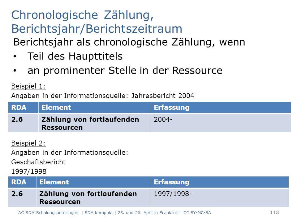 Chronologische Zählung, Berichtsjahr/Berichtszeitraum Berichtsjahr als chronologische Zählung, wenn Teil des Haupttitels an prominenter Stelle in der Ressource Beispiel 1: Angaben in der Informationsquelle: Jahresbericht 2004 Beispiel 2: Angaben in der Informationsquelle: Geschäftsbericht 1997/1998 118 RDAElementErfassung 2.6Zählung von fortlaufenden Ressourcen 2004- RDAElementErfassung 2.6Zählung von fortlaufenden Ressourcen 1997/1998- AG RDA Schulungsunterlagen | RDA kompakt | 25.