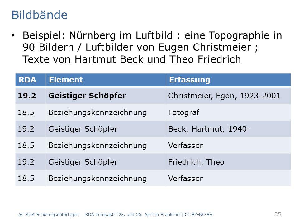 Bildbände Beispiel: Nürnberg im Luftbild : eine Topographie in 90 Bildern / Luftbilder von Eugen Christmeier ; Texte von Hartmut Beck und Theo Friedrich RDAElementErfassung 19.2Geistiger SchöpferChristmeier, Egon, 1923-2001 18.5BeziehungskennzeichnungFotograf 19.2Geistiger SchöpferBeck, Hartmut, 1940- 18.5BeziehungskennzeichnungVerfasser 19.2Geistiger SchöpferFriedrich, Theo 18.5BeziehungskennzeichnungVerfasser AG RDA Schulungsunterlagen | RDA kompakt | 25.