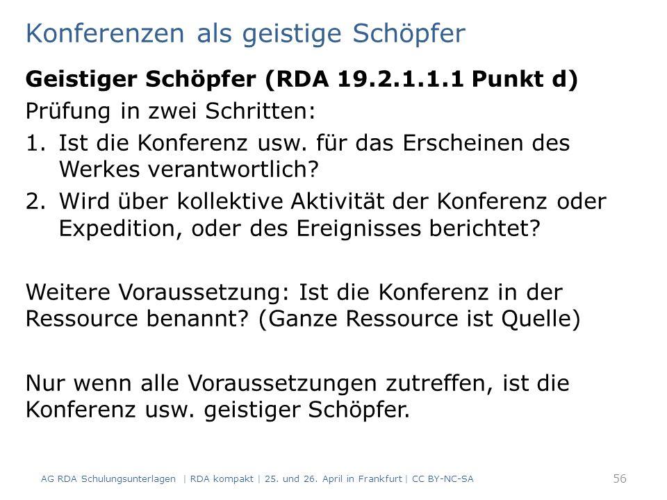 Konferenzen als geistige Schöpfer AG RDA Schulungsunterlagen | RDA kompakt | 25.