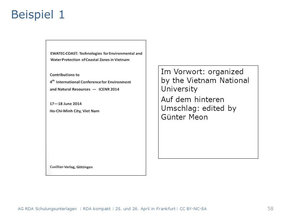 Im Vorwort: organized by the Vietnam National University Auf dem hinteren Umschlag: edited by Günter Meon Titelblatt(scan) Beispiel 1 AG RDA Schulungsunterlagen | RDA kompakt | 25.