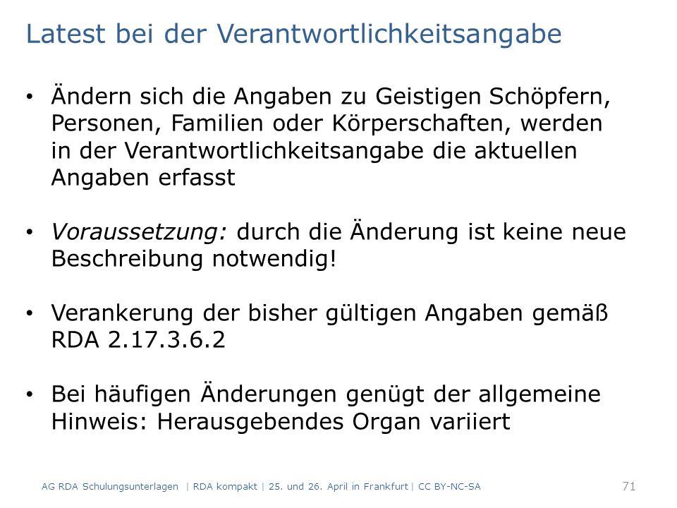 AG RDA Schulungsunterlagen | RDA kompakt | 25. und 26.