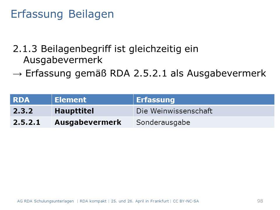 Erfassung Beilagen 2.1.3 Beilagenbegriff ist gleichzeitig ein Ausgabevermerk → Erfassung gemäß RDA 2.5.2.1 als Ausgabevermerk AG RDA Schulungsunterlagen | RDA kompakt | 25.