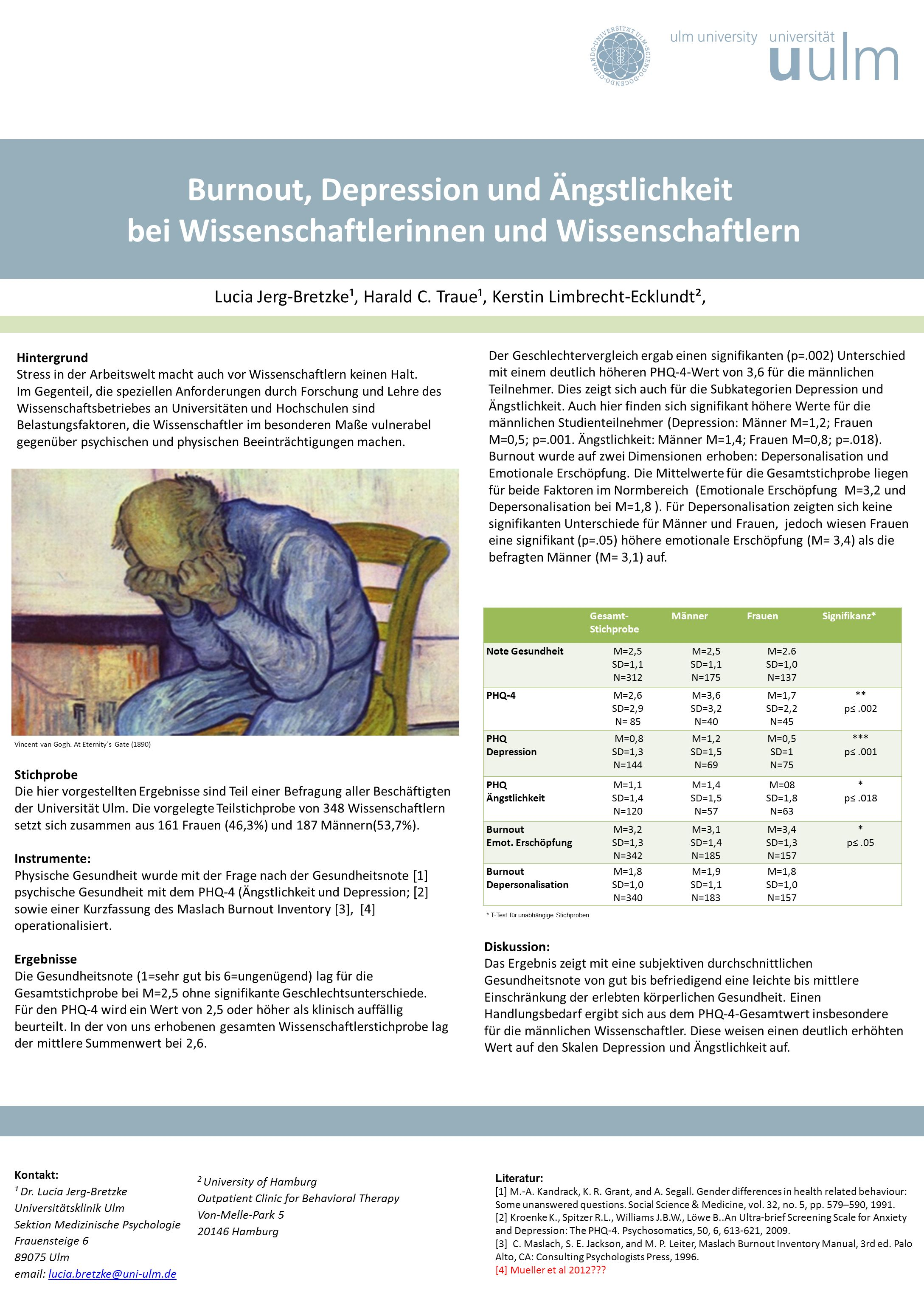 Burnout, Depression und Ängstlichkeit bei Wissenschaftlerinnen und Wissenschaftlern Lucia Jerg-Bretzke¹, Harald C. Traue¹, Kerstin Limbrecht-Ecklundt²