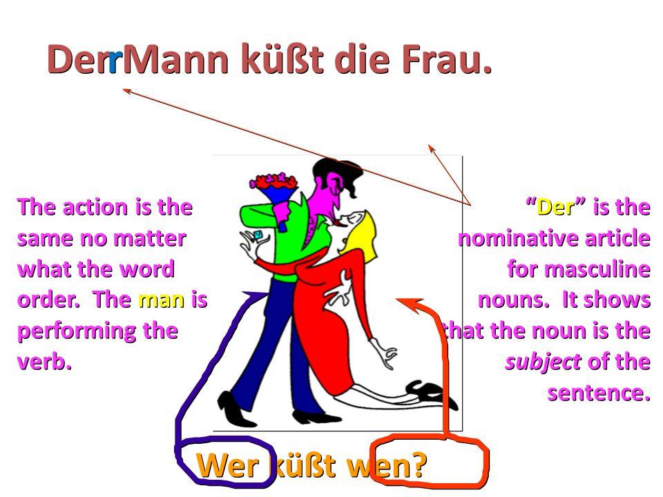 "Wer küßt wen? Der Mann küßt die Frau. r r The action is the same no matter what the word order. The man is performing the verb. ""Der"" is the nominativ"