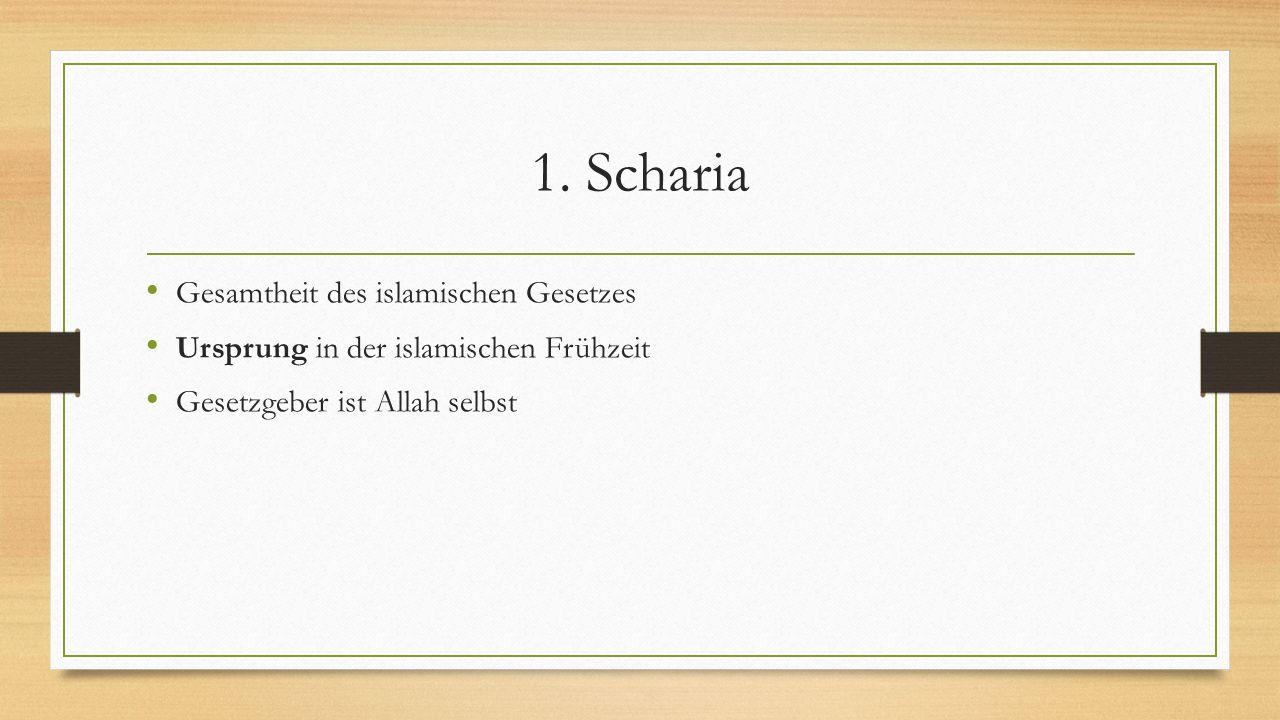 1. Scharia Gesamtheit des islamischen Gesetzes Ursprung in der islamischen Frühzeit Gesetzgeber ist Allah selbst