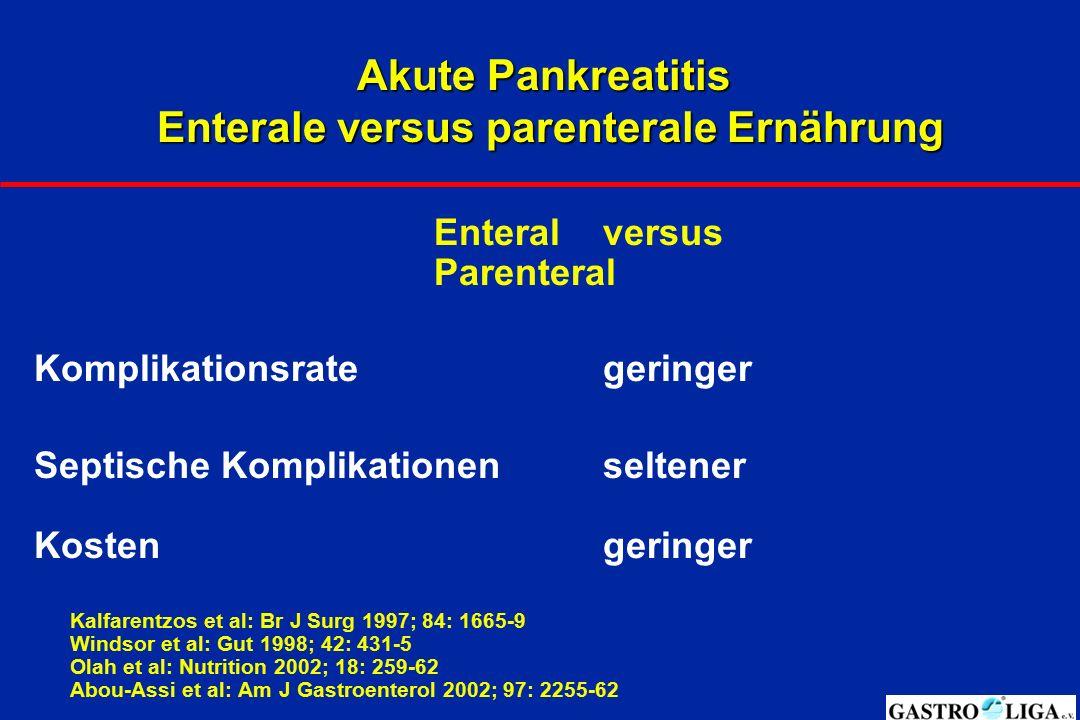 Akute Pankreatitis Enterale versus parenterale Ernährung Enteralversus Parenteral Komplikationsrategeringer Septische Komplikationenseltener Kostenger