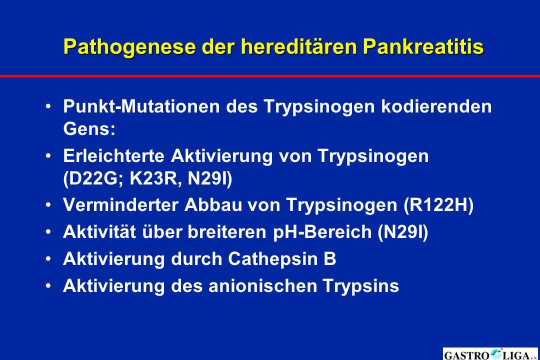 Pathogenese der hereditären Pankreatitis Punkt-Mutationen des Trypsinogen kodierenden Gens: Erleichterte Aktivierung von Trypsinogen (D22G; K23R, N29I