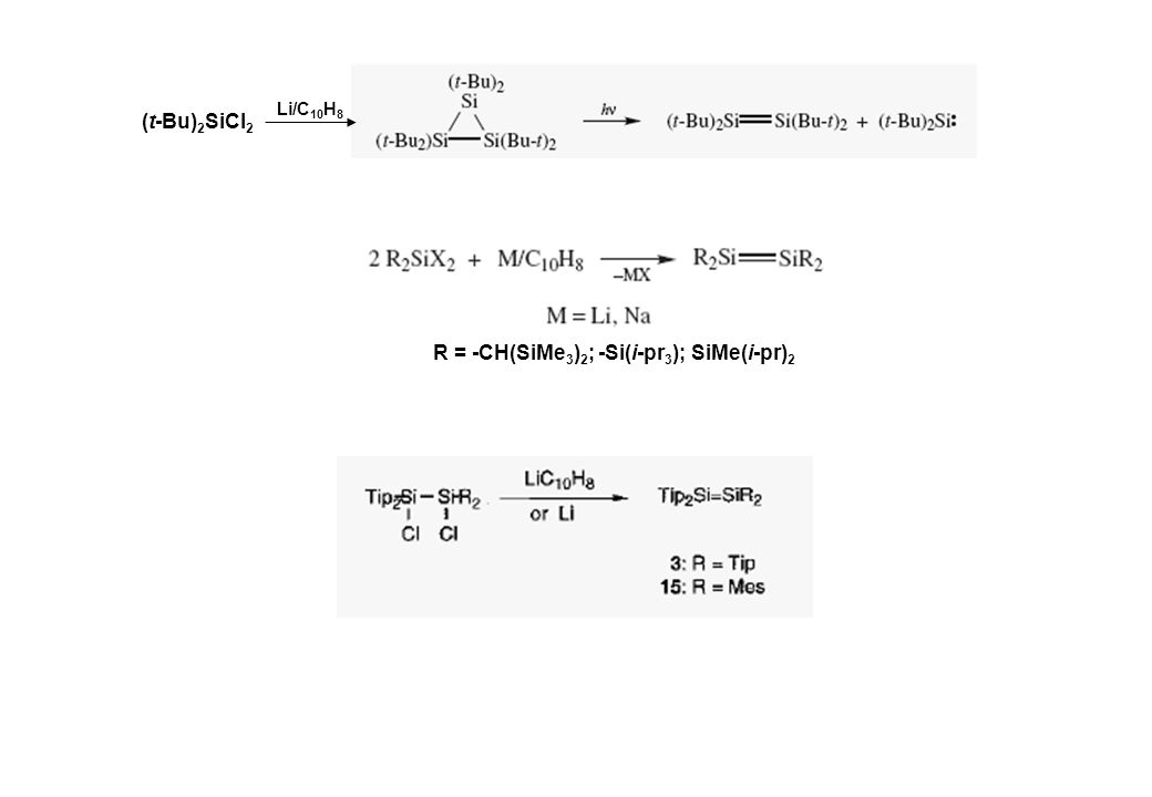 (t-Bu) 2 SiCl 2 Li/C 10 H 8 R = -CH(SiMe 3 ) 2 ; -Si(i-pr 3 ); SiMe(i-pr) 2