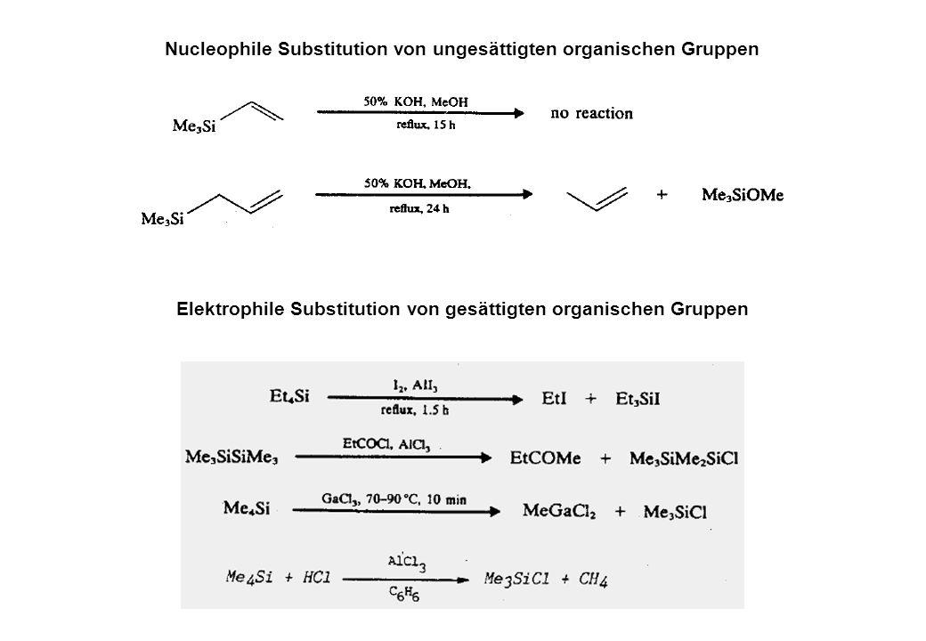 Nucleophile Substitution von ungesättigten organischen Gruppen Elektrophile Substitution von gesättigten organischen Gruppen