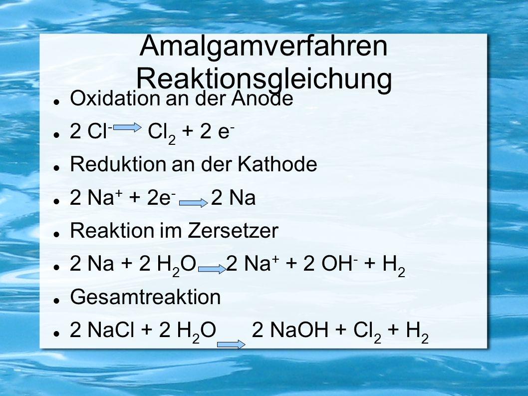 Amalgamverfahren Reaktionsgleichung Oxidation an der Anode 2 Cl - Cl 2 + 2 e - Reduktion an der Kathode 2 Na + + 2e - 2 Na Reaktion im Zersetzer 2 Na