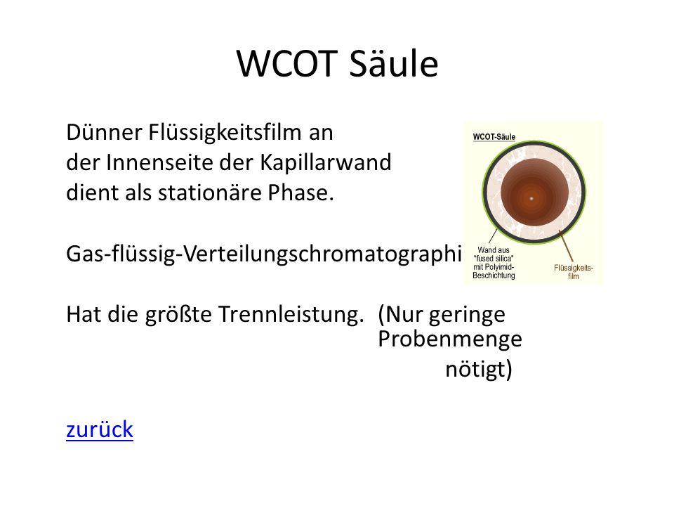 WCOT Säule Dünner Flüssigkeitsfilm an der Innenseite der Kapillarwand dient als stationäre Phase. Gas-flüssig-Verteilungschromatographie Hat die größt