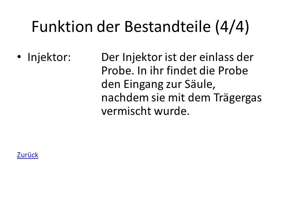 Funktion der Bestandteile (4/4) Injektor:Der Injektor ist der einlass der Probe. In ihr findet die Probe den Eingang zur Säule, nachdem sie mit dem Tr