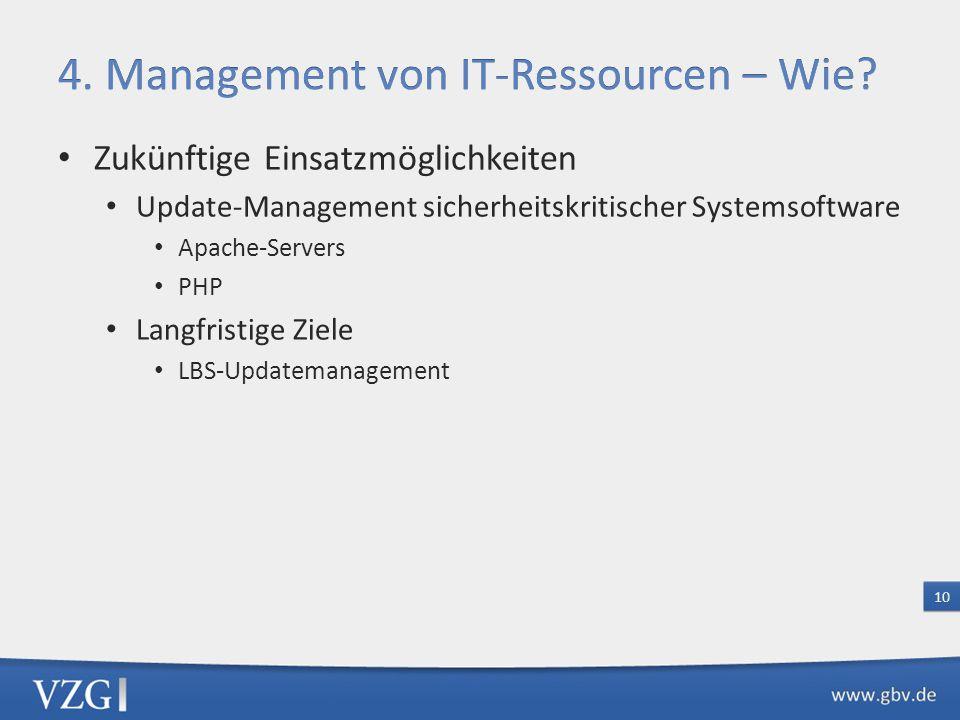 Zukünftige Einsatzmöglichkeiten Update-Management sicherheitskritischer Systemsoftware Apache-Servers PHP Langfristige Ziele LBS-Updatemanagement