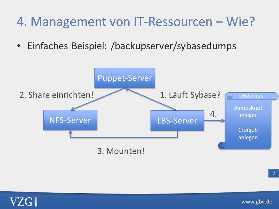 Einfaches Beispiel: /backupserver/sybasedumps 7 Puppet-Server NFS-Server LBS-Server 1. Läuft Sybase?2. Share einrichten! 3. Mounten! Dumpskript anlege