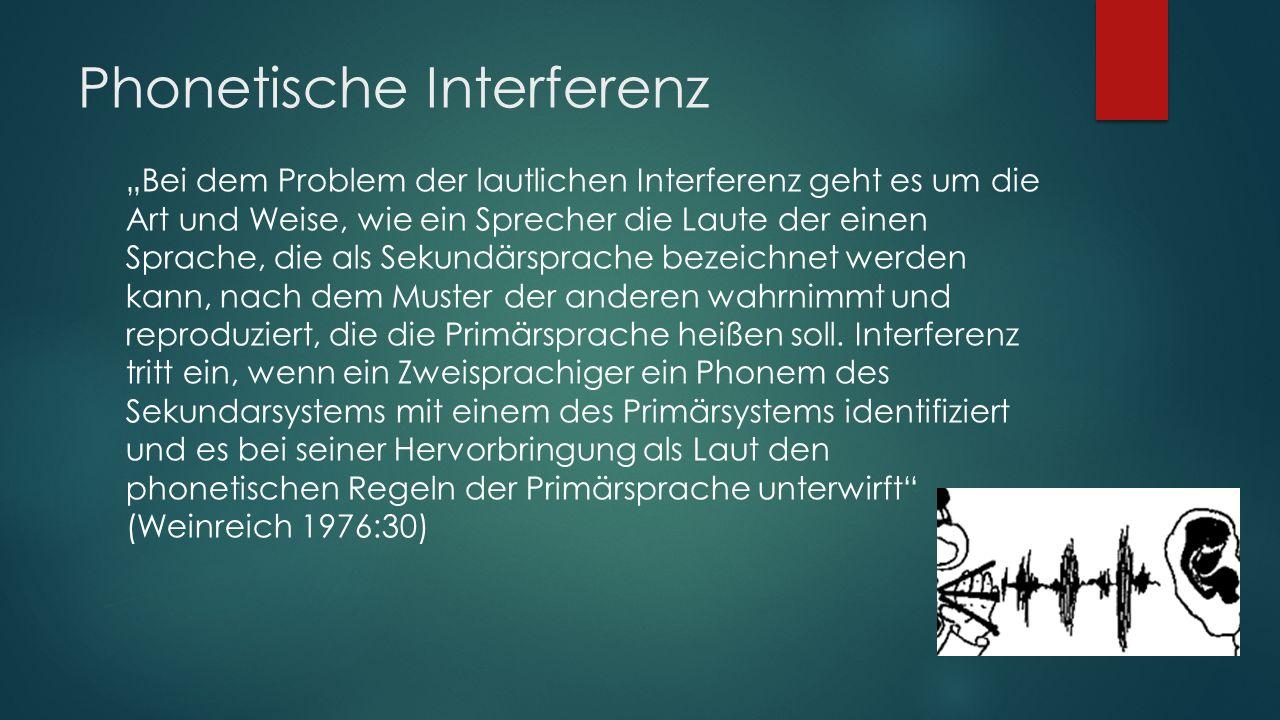 INTERFERENZ  Beeinflussung von Sprachen und Dialekten auf der Grundlage von Sprachkontakten und Bilinguismus, die sich in der Übernahme lexikalischer Einheiten, grammatischer und phonetischer Einheiten und Regeln aus der Einer Sprache in die andere äußert.