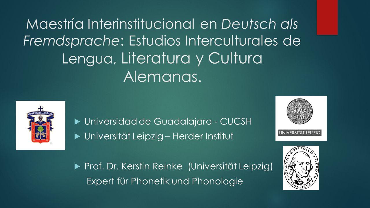 Maestría Interinstitucional en Deutsch als Fremdsprache: Estudios Interculturales de Lengua, Literatura y Cultura Alemanas.