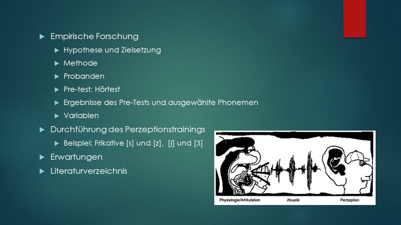 Durchführung des Perzeptionstrainings  BESCHREIBUNG DER DURCHFÜHRUNG  Beispiel: Frikative [s] und [z], [ ʃ ] und [ Ʒ ]