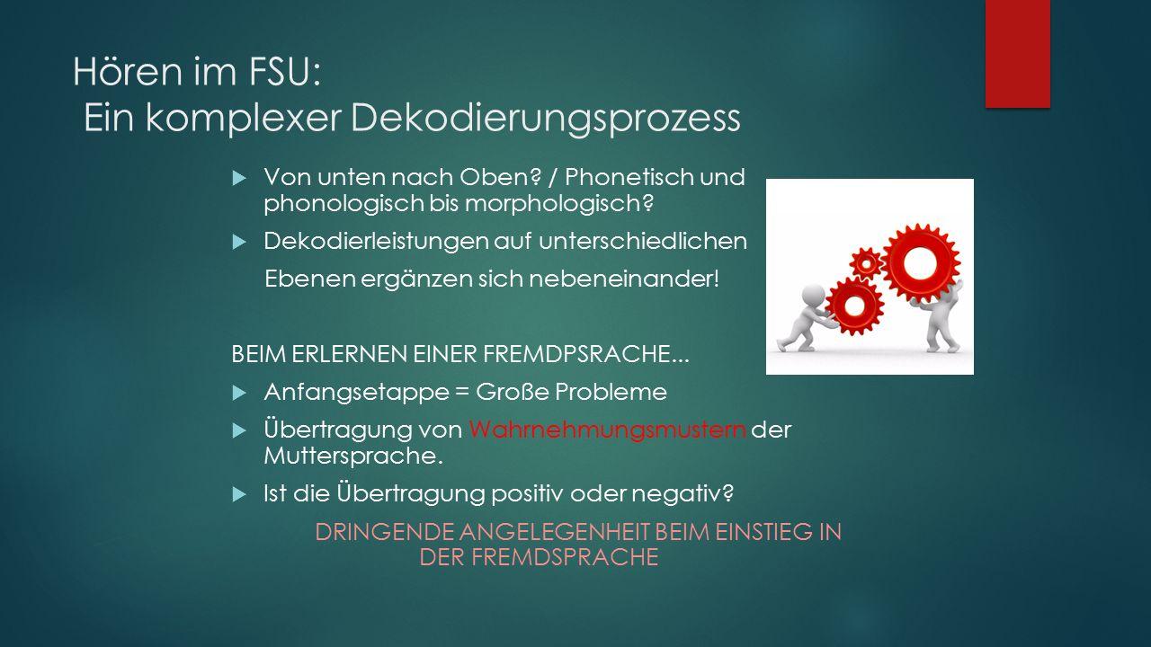Hören im FSU: Ein komplexer Dekodierungsprozess  Von unten nach Oben.