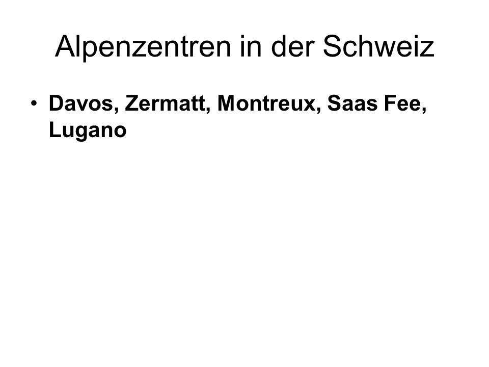 Alpenzentren in der Schweiz Davos, Zermatt, Montreux, Saas Fee, Lugano