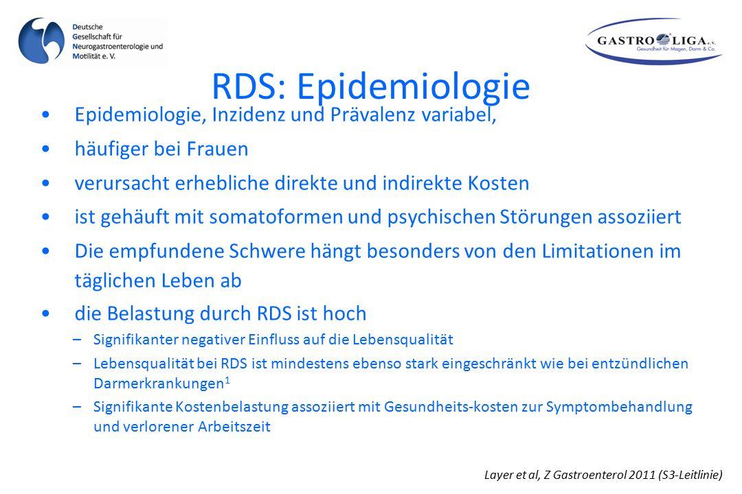RDS: Epidemiologie Layer et al, Z Gastroenterol 2011 (S3-Leitlinie) Epidemiologie, Inzidenz und Prävalenz variabel, häufiger bei Frauen verursacht erh