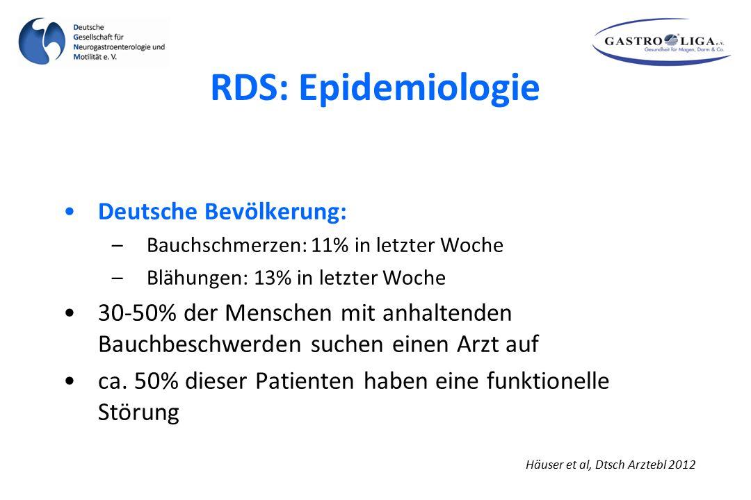 RDS: Epidemiologie Häuser et al, Dtsch Arztebl 2012 Deutsche Bevölkerung: –Bauchschmerzen: 11% in letzter Woche –Blähungen: 13% in letzter Woche 30-50