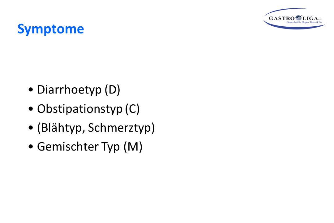 Diarrhoetyp (D) Obstipationstyp (C) (Blähtyp, Schmerztyp) Gemischter Typ (M)