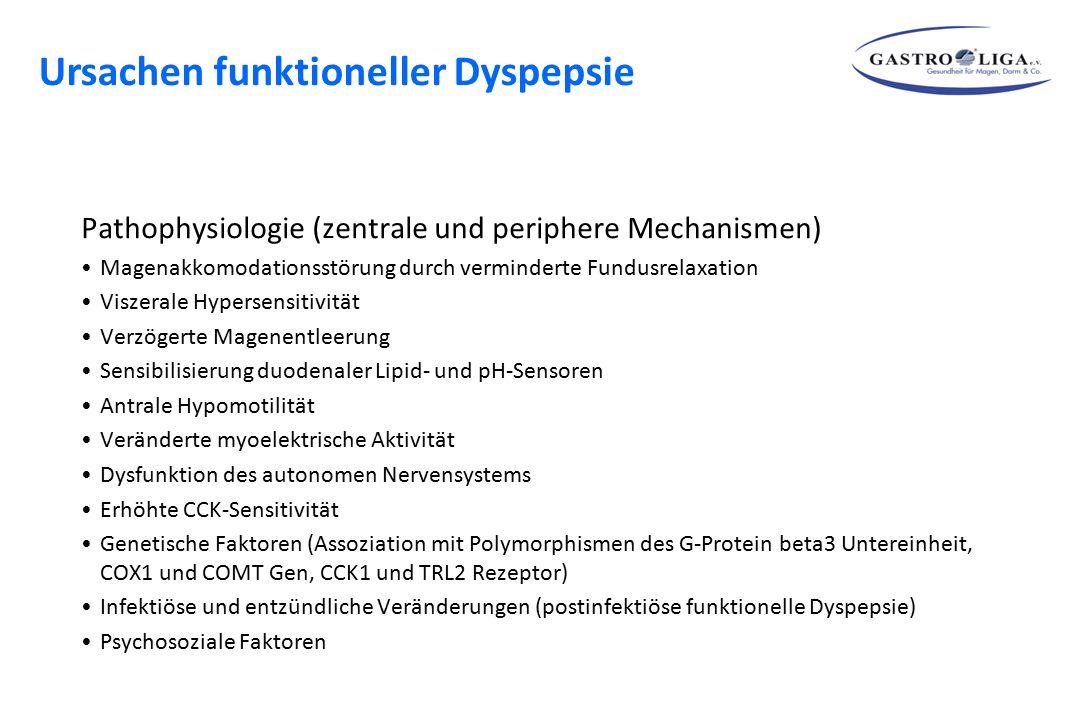 Pathophysiologie (zentrale und periphere Mechanismen) Magenakkomodationsstörung durch verminderte Fundusrelaxation Viszerale Hypersensitivität Verzöge