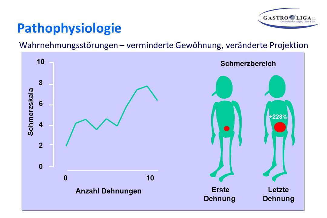 10 8 6 4 2 0 0 10 Anzahl Dehnungen Schmerzskala Erste Dehnung Letzte Dehnung +228% Schmerzbereich Theorien zur Pathogenese funktioneller Magen-Darmerk