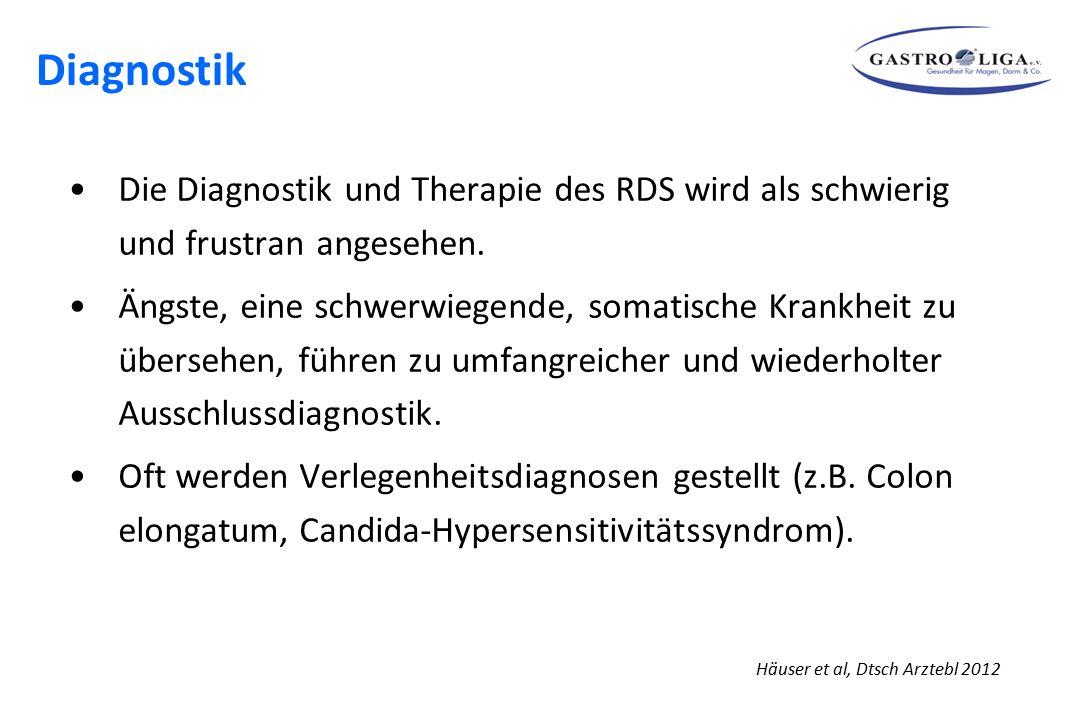 Häuser et al, Dtsch Arztebl 2012 Die Diagnostik und Therapie des RDS wird als schwierig und frustran angesehen. Ängste, eine schwerwiegende, somatisch