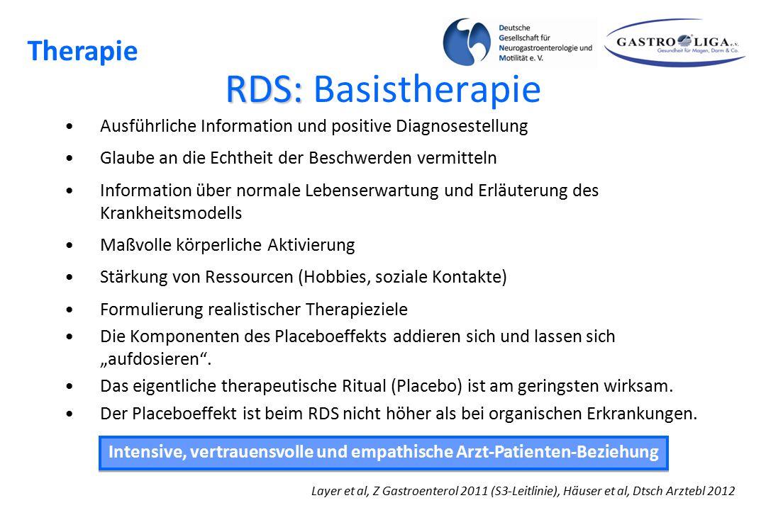 RDS: RDS: Basistherapie Ausführliche Information und positive Diagnosestellung Glaube an die Echtheit der Beschwerden vermitteln Information über norm