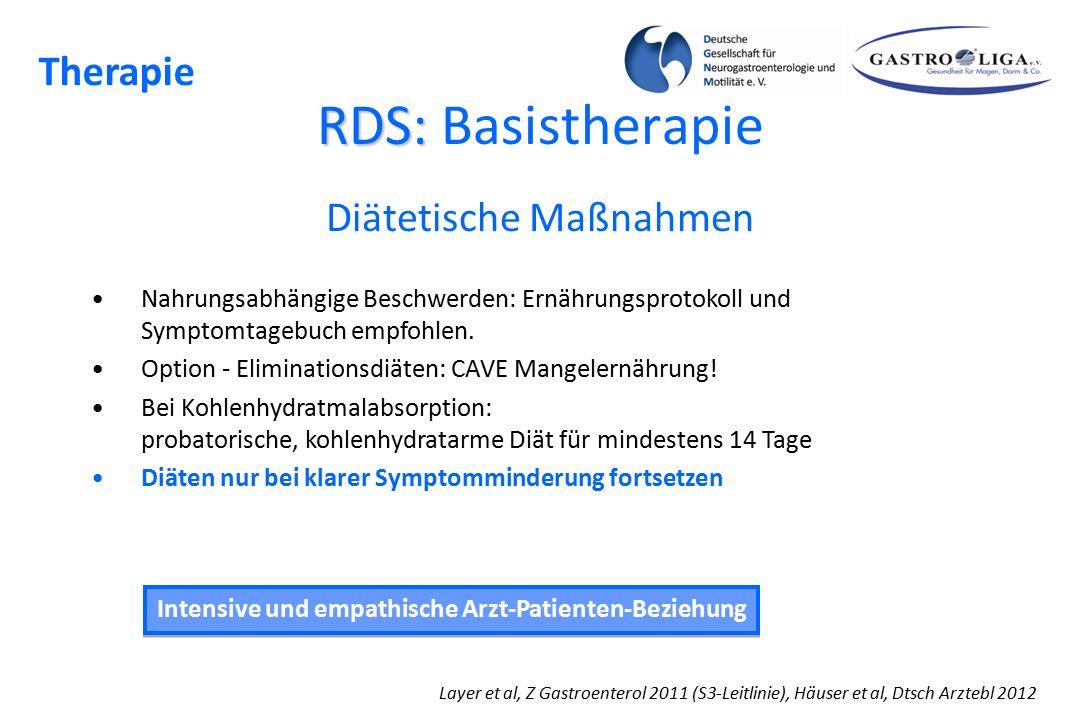 RDS: RDS: Basistherapie Layer et al, Z Gastroenterol 2011 (S3-Leitlinie), Häuser et al, Dtsch Arztebl 2012 Intensive und empathische Arzt-Patienten-Be
